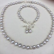 DESIGNER GREY FRESHWATER PEARL NECKLACE STERLING SILVER BAROQUE PEARL JEWELRY