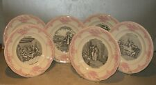 New 6 dessert Plates Mariage a la Campagne Rose ( Pink ) , from Gien