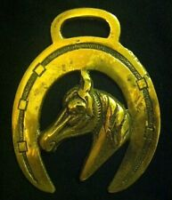 HORSE HEAD NARROW MUZZLE POINTED COLLAR HORSESHOE Some Wear Harness Horse Brass