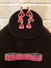 Red Dangling Rhinestone Earrings and Bracelet