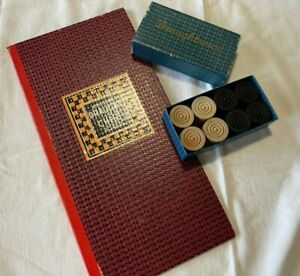 Vintage HOLDSON'S DRAUGHTS and CHESS Board plus Wood Draughts