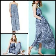NWT $595 L'Agence Strapless Printed Indigo Blue Maxi Dress Summer Beach 4 Small