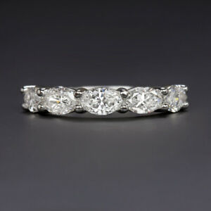 1 CARAT OVAL SHAPE DIAMOND WEDDING BAND EAST WEST RING HALF ETERNITY STACKING