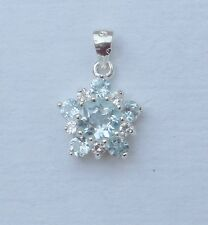 Sterling Silver 925 Flower Pendant-- Blue Topaz and CZ round stones (No chain)
