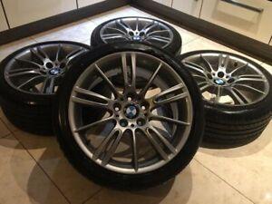"""Genuine Staggered BMW MV3 Alloy Wheels 18"""" E90 E91 E92 E93: in Silver +TYRES"""