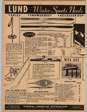 1951 PAPER AD Lund Hickory Ridge Top Wood Wooden Snow Skis Hockey Sticks Shoes