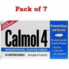 Calmol 4 Hemorrhoidal Suppositories Astringent & Protectant 24 Ea (Pack of 7)