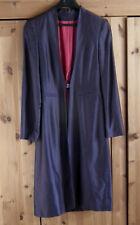 Womens Long Dark Blue Long Sleeve Lined Jacket Size 8