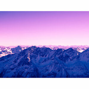 Pink Sky Snowy Mountain Large Canvas Wall Art Print