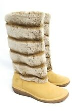 BEAUTIFUL-TIMBERLAND BOOTS! (SIZE 8M TAN LEATHER & FAUX FUR)
