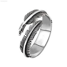 83e1 Vintage Adjustable Feather Opening Titanium Steel Rings Silver for Women La