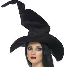 Halloween Fancy Dress Ladies Witch Hat Tall & Twisty Black New by Smiffys