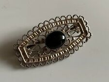 Strong-Willed Vtg Mexico 925 Silver Real Large Black Onyx Gemstone Floral Pin Brooch Selling Well All Over The World Fine Jewelry Retro, Vintage 1930s-1980s