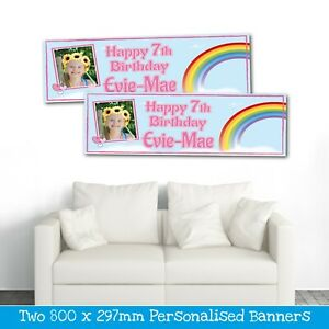 2 PERSONALISED PHOTO RAINBOW BIRTHDAY BANNER - ANY NAME ANY AGE (800 X 297MM)