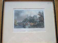 Impresión antiguo Castillo de Windsor desde el oeste grabado Color Enmarcado 1800S Londres