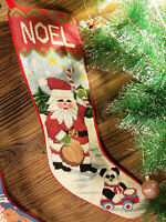 Needlepoint Christmas Stocking Lovely Hand Crafted Busy Santa Clause Teddy Bear