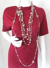 $3925+ CHANEL Pearl Multi Color Stones 3 Triple Strand Beads Runway Necklace NWT