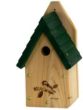 Wood Cedar Bird House Wren Finch Chickadee Nesting Box Garden Backyard Outdoor