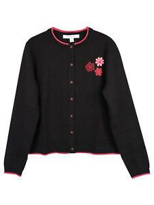 Brooks Brothers Girls Floral Embroidery Cardigan