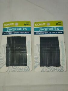 2 PK CONAIR - Strong Hold Bobby Pins in Black - 18 Pack each (E2)