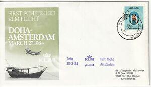 Qatar 1984 first flight cover to Amsterdam Holland