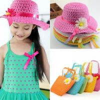 NEW Baby Kids Girl Cap Straw Flower Sun Hat Children Summer Beach Bag Handbag XN