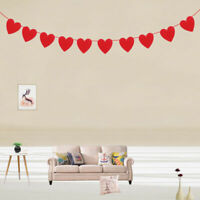 Red Love Heart Bunting Banners Garland Wedding Valentine's Day Birthday Decor