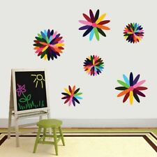 Rainbow Flowers Printed Wall Decals Set - Kids Playroom Classroom Wall Art