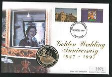 1997 Golden Wedding Coin  FDC - $1 Coin & Sierra Leone Pmk