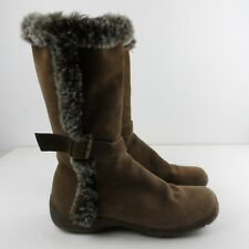 Manfield Suede Boots EUR 40 UK 7 Moccasin Style Brown Faux Fur Trimmed