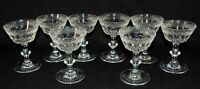 "Set of (8) Hawkes Champagne Clear Cut Glass Fine Crystal 5"" Sherbet Stems 2411"