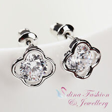 18K White Gold Plated Simulated Diamond Exquisite Sparkling Flower Stud Earrings