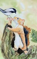 Squirrel And Chickadee Original Watercolor Painting