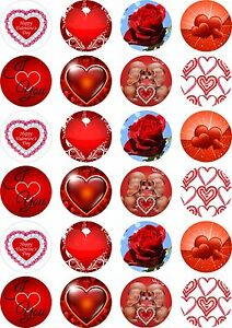 24X PRECUT VALENTINES DAY, EDIBLE WAFER PAPER, CUPCAKE, CAKE TOPPERS 1492