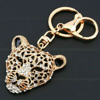 Rhinestone Gold Leopard Keyring Charm Pendant Key Ring Keychain Purse Bag Decor