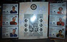 NHL ALL STAR SOUVENIR SHEET, 2002 HORTON, LAFLEUR, MORENZ, HALL, KELLY, ESPOSITO