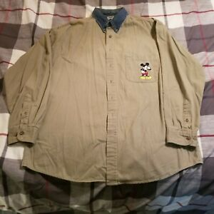 Disney Store Mickey Mouse Men's Button Front Long Sleeve Shirt Large Olive