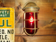 Vintage RUSSELL & STOLL Explosion Proof Brass Cage Industrial Light Fixture