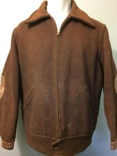 Vtg 30s 40s Brown Wool Work Wear Jacket Coat Mens L Leather Chore Delivery Farm