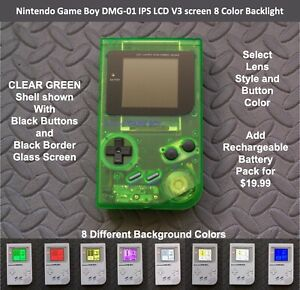 Nintendo Game Boy DMG-01 with IPS LCD V3 screen 8 Color Backlight - CLEAR Green