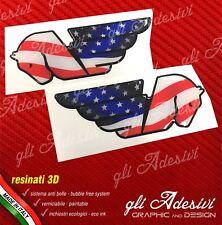 2 Adesivi Resinati Sticker 3D BUELL Serbatoio USA flag black line logo