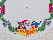 """Vintage Felt Merry Christmas Tree Skirt - Small/Mini 17.5"""" Diam - Santa Caroling"""