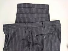 MANTONI MILAN ITALY SUPER 140'S MEN'S S.PLEAT BLACK PIN STRIPE WOOL PANTS CUFFED