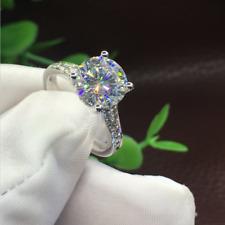 Halo Wedding Ring 14k White Gold Certified 2.7Ct White Round Cut Moissanite