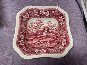 Vintage Pink Copeland Spode's Tower England Square Serving Bowl Dish Older Mark