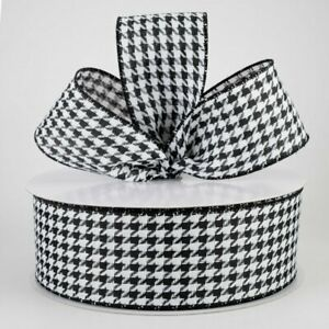 """1 metre 63mm (2.5"""") BLACK/WHITE DOGTOOTH PLAID WOVEN WIRED EDGE RIBBON"""