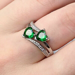 Fashion Women 925 Silver Heart Emerald Rings Engagement Jewelry Ring Size 7