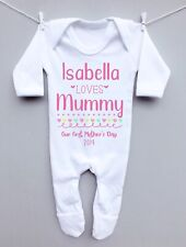 Personalised baby sleepsuit romper suit grow 1st Mothers day name loves Mummy