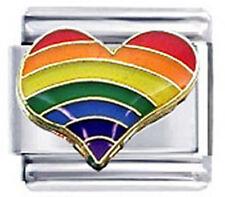 Italian Charm Rainbow Heart Love Gay Lesbian LGBTQ