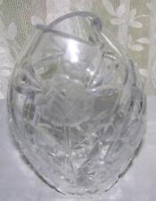 Pressed & Cut Glass Lead Crystal Floral Pattern Vase